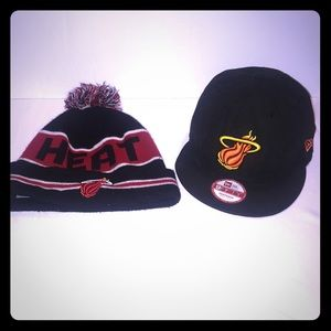 Hats- Miami Heat Beanie and baseball cap.